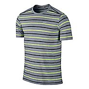 Mens Nike Tailwind Stripe Crew Short Sleeve Technical Tops