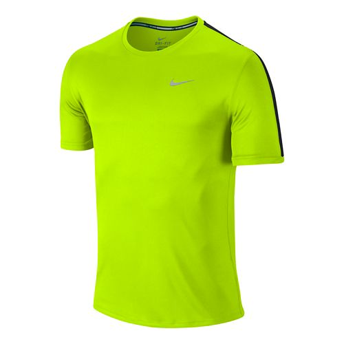 Mens Nike Relay Short Sleeve Technical Tops - Volt L