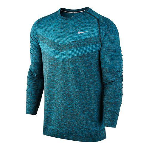 Mens Nike Dri-Fit Knit Long Sleeve Half Zip Technical Tops - Blue Lagoon L
