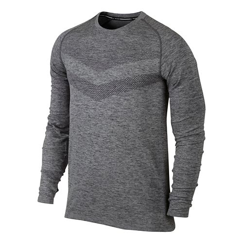 Mens Nike Dri-Fit Knit Long Sleeve Half Zip Technical Tops - Grey S