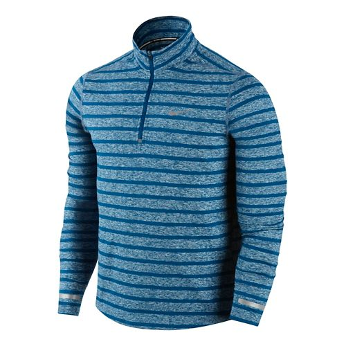 Mens Nike Element Stripe Long Sleeve 1/2 Zip Technical Tops - Jet Blue/Heather S