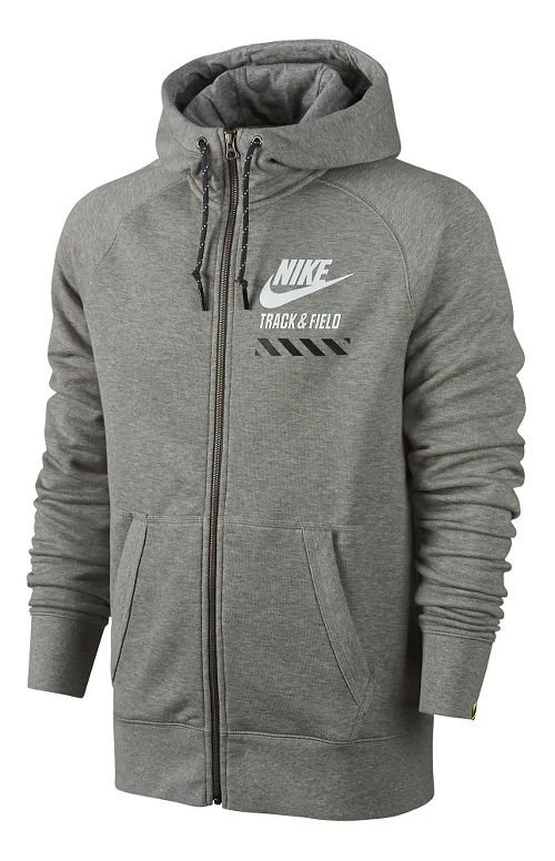 Mens Nike AW77 FU NTF Fly Full-Zip Hoodie Running Jackets - Heather Grey L
