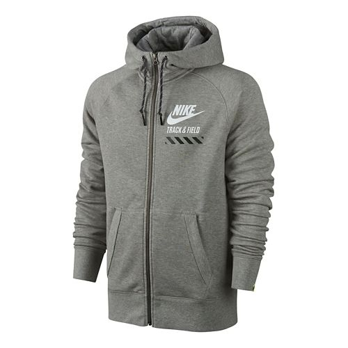 Mens Nike AW77 FU NTF Fly Full-Zip Hoodie Running Jackets - Heather Grey M