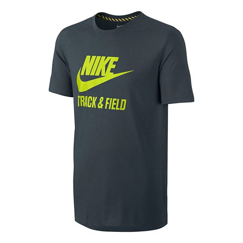 Mens Nike Tee-RU NTF Brand Short Sleeve Technical Tops - Dark Grey L