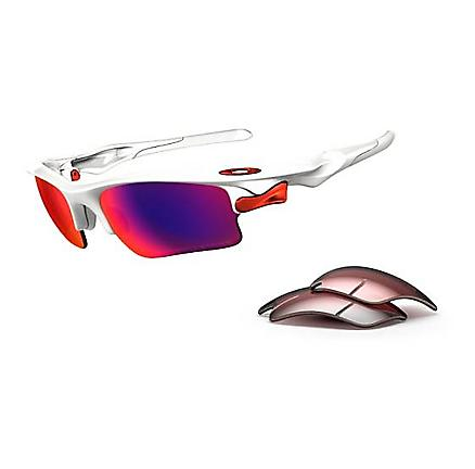 Oakley Fast Jacket XL Polished White Sunglass - Polarized Red Lens Sunglasses