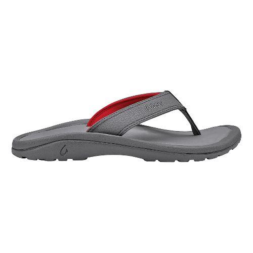 Mens OluKai Ohana Sandals Shoe - Charcoal/Charcoal 17
