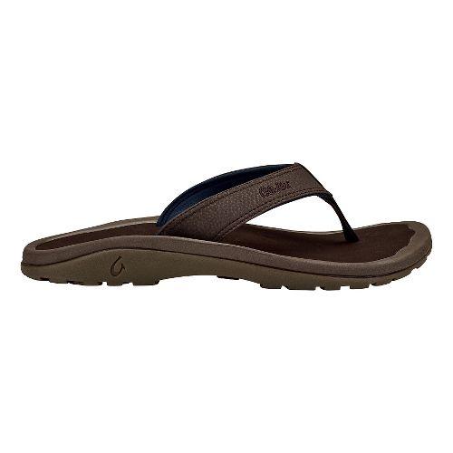 Mens OluKai Ohana Sandals Shoe - Dark Wood/Dark Wood 18