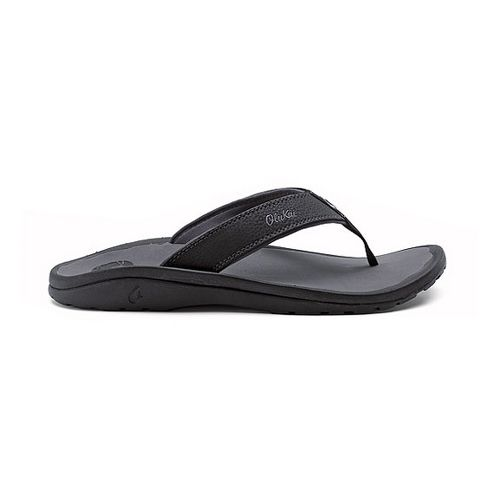 Mens OluKai Ohana Sandals Shoe - Black/Grey 18