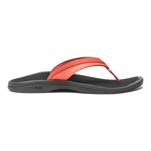 Womens OluKai Ohana Sandals Shoe - Coral/Black 8