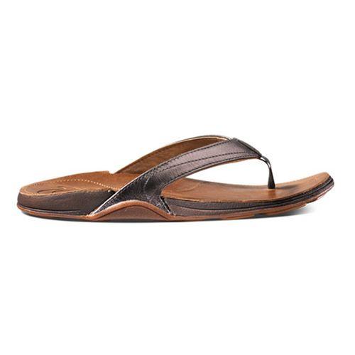 Womens OluKai Kumu Sandals Shoe - Pewter/Rattan 10