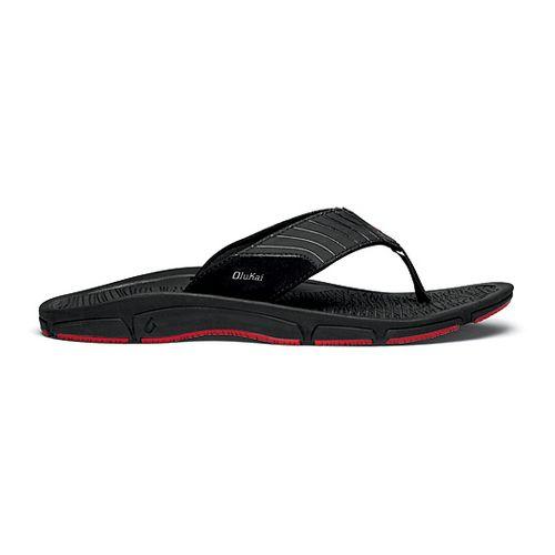 Mens OluKai Kai Ko Sandals Shoe - Black/Red 11
