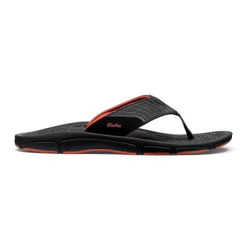 Mens OluKai Kai Ko Sandals Shoe - Black/Smokey Orange 12