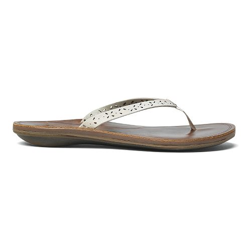 Womens OluKai Puka Sandals Shoe - White/Brown 8