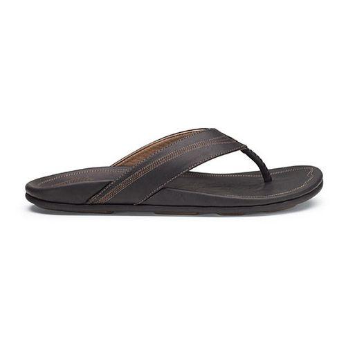 Mens OluKai Manini Sandals Shoe - Black/Black 14