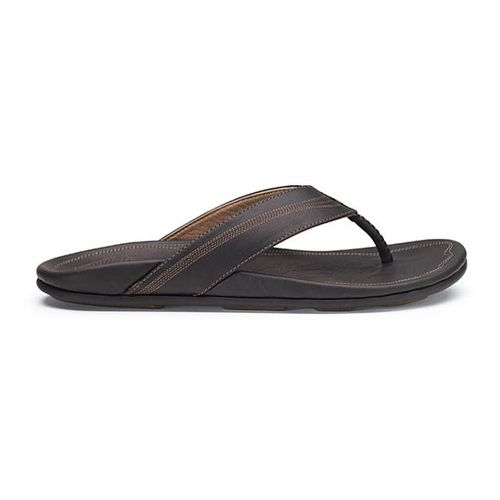 Mens OluKai Manini Sandals Shoe - Black/Black 18