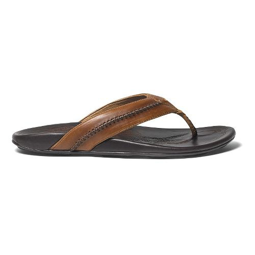 Mens OluKai Mea Ola Sandals Shoe - Tan/Dark Java 12
