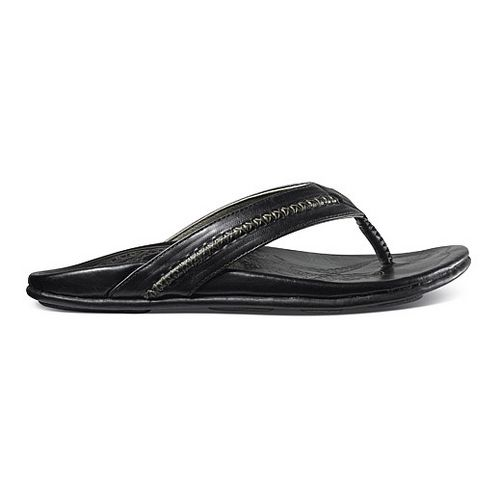 Mens OluKai Mea Ola Sandals Shoe - Black/Black 7