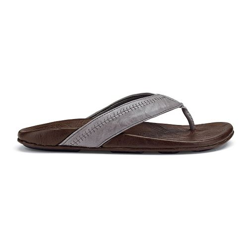 Mens OluKai Hiapo Sandals Shoe - Grey/Seal Brown 11