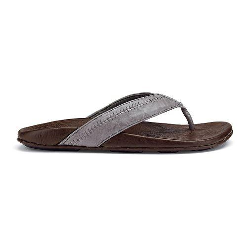 Mens OluKai Hiapo Sandals Shoe - Grey/Seal Brown 8