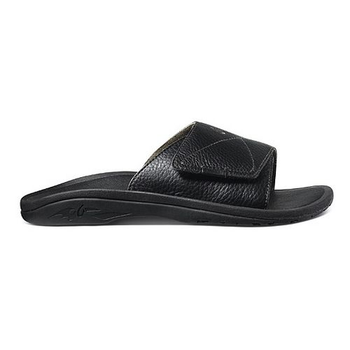 Mens OluKai Ohana Leather Slide Sandals Shoe - Black/Black 14