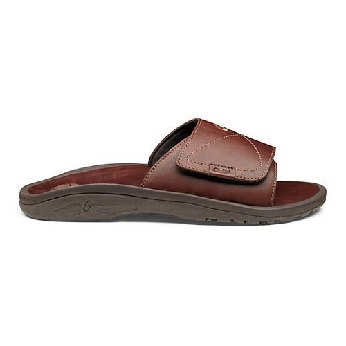 Mens OluKai Ohana Leather Slide Sandals Shoe - Dark Java/Dark Java 8