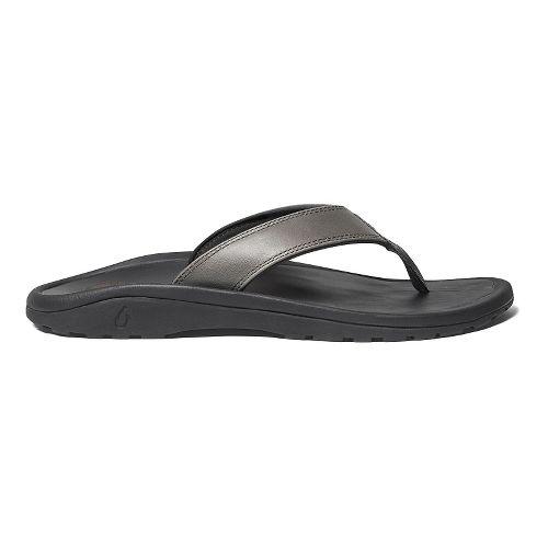 Mens OluKai Ohana Leather Sandals Shoe - Charcoal/Black 8