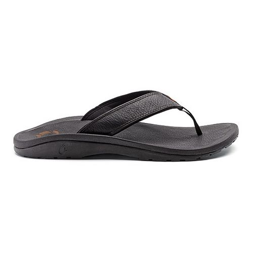 Mens OluKai Ohana Leather Sandals Shoe - Black/Black 12