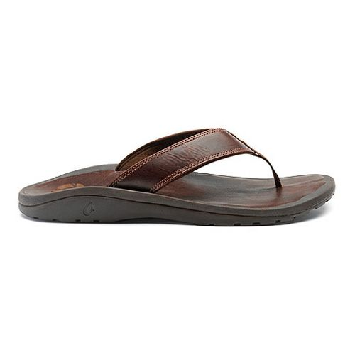Mens OluKai Ohana Leather Sandals Shoe - Dark Java/Dark Java 10