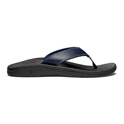 Mens OluKai Ohana Leather Sandals Shoe - Deep Sea/Black 7