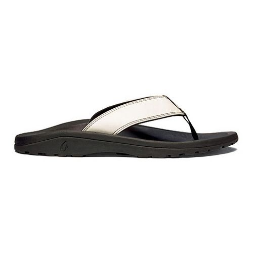 Mens OluKai Ohana Leather Sandals Shoe - Off White/Black 10
