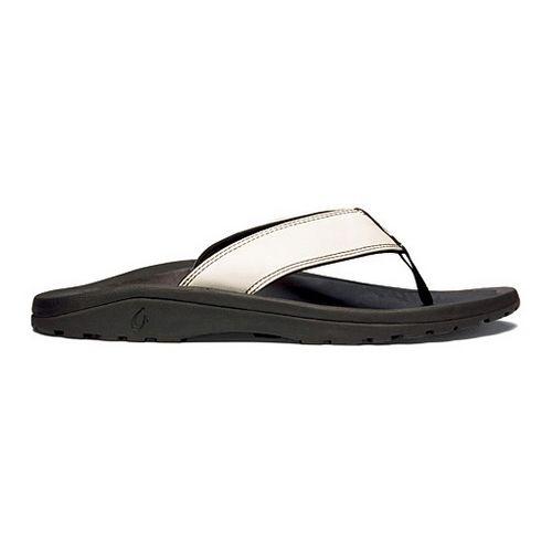 Mens OluKai Ohana Leather Sandals Shoe - Off White/Black 8