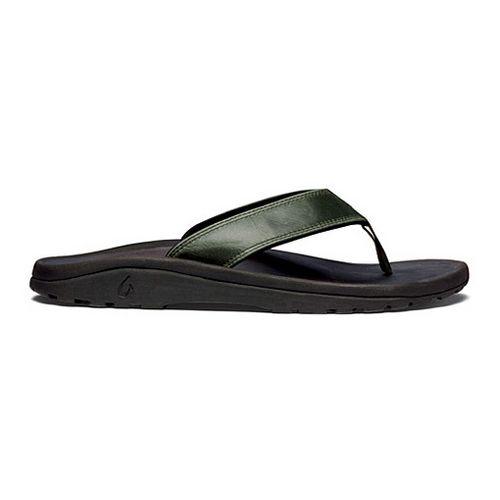 Mens OluKai Ohana Leather Sandals Shoe - Rosin/Black 12