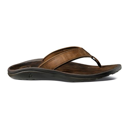 Mens OluKai Ohana Leather Sandals Shoe - Charcoal/Black 10