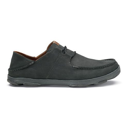 Mens OluKai Ohana Lace-Up Nubuck Casual Shoe - Black/Dark Shadow 8