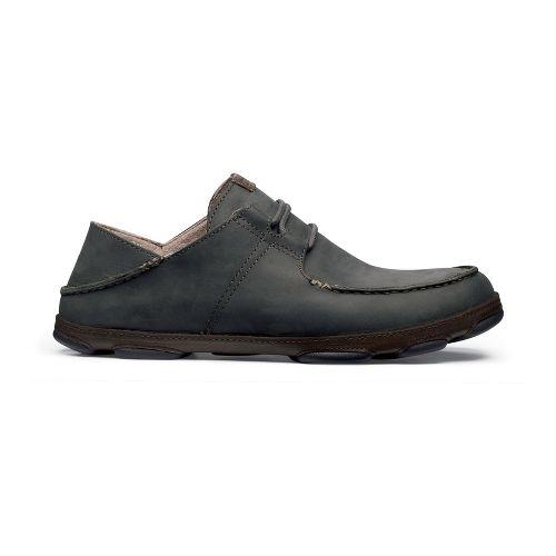 Mens OluKai Ohana Lace-Up Nubuck Casual Shoe - Black Olive/Seal Brown 10.5