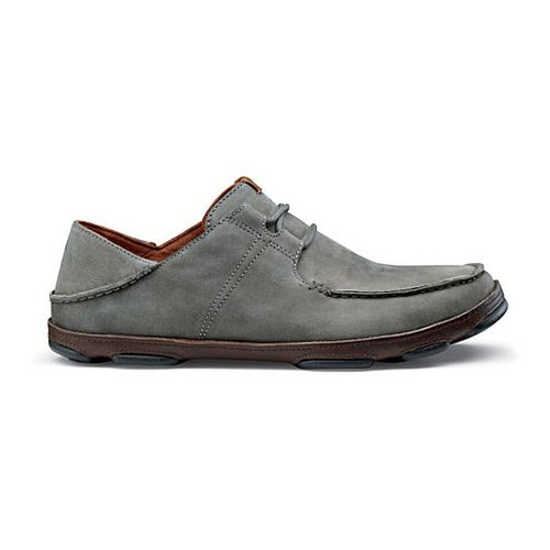 Mens OluKai Ohana Lace-Up Nubuck Casual Shoe - Storm Grey/Dark Wood 11.5