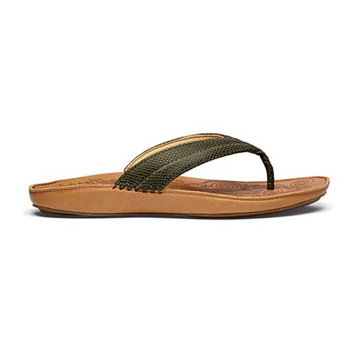 Womens OluKai Haiku Elua Sandals Shoe - Dark Olive/Natural 9