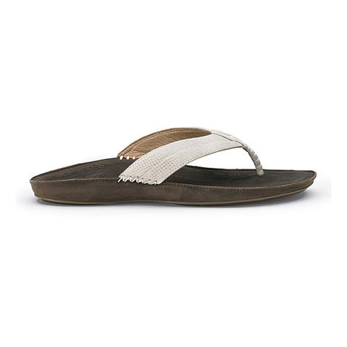 Womens OluKai Haiku Elua Sandals Shoe - Off White/Dark Java 7