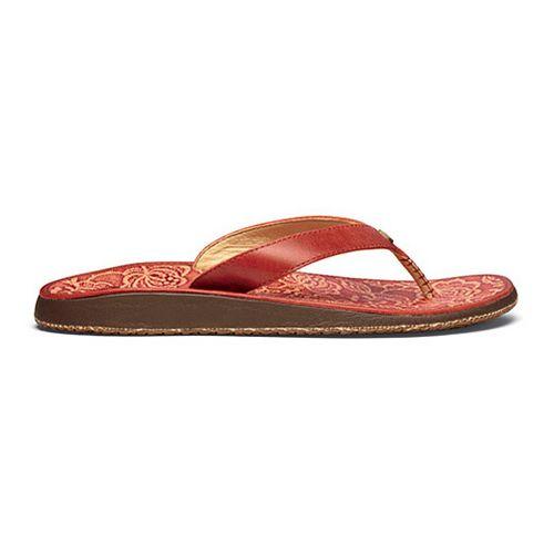 Womens OluKai Paniolo Hibiscus Sandals Shoe - Ember/Hibiscus 6