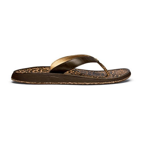 Womens OluKai Paniolo Hibiscus Sandals Shoe - Seal Brown/Hibiscus 10