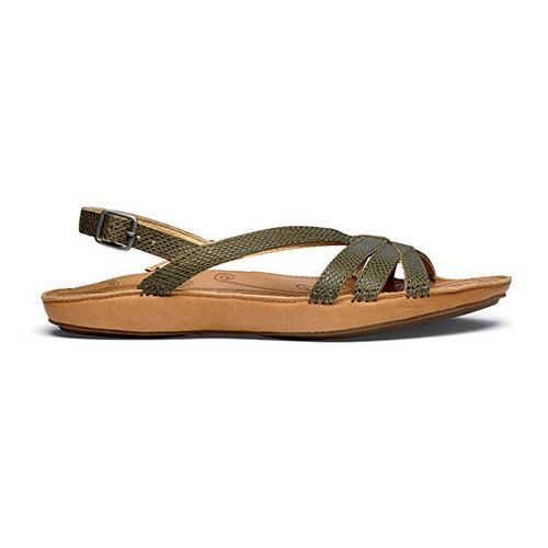 Womens OluKai Le'ale'a Sandals Shoe - Dark Olive/Natural 10