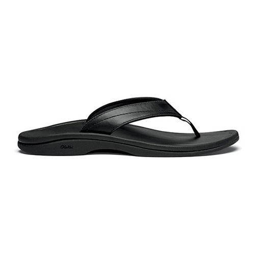 Womens OluKai Ohana Leather Sandals Shoe - Black/Black 8