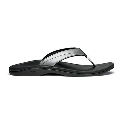 Womens OluKai Ohana Leather Sandals Shoe - Pewter/Black 6