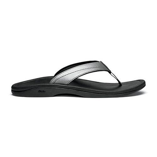 Womens OluKai Ohana Leather Sandals Shoe - Pewter/Black 7