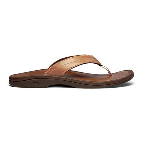 Womens OluKai Ohana Leather Sandals Shoe - Rawhide/Stallion 5