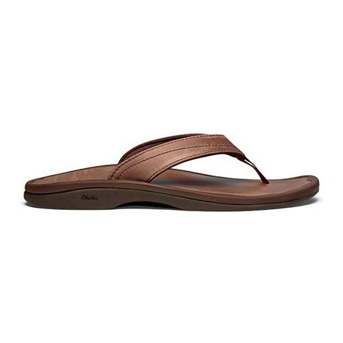 Womens OluKai Ohana Leather Sandals Shoe - Stallion/Stallion 10