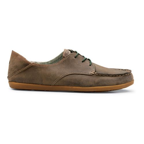 Womens OluKai Heleuma Leather Casual Shoe - Dark Khaki/Tapa 8.5