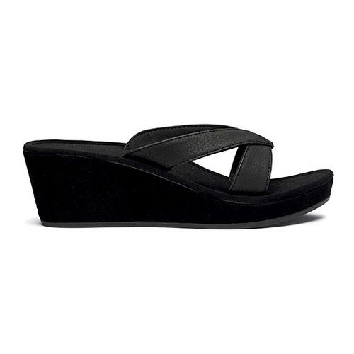 Womens OluKai Ohana Wedge Sandals Shoe - Black/Black 5