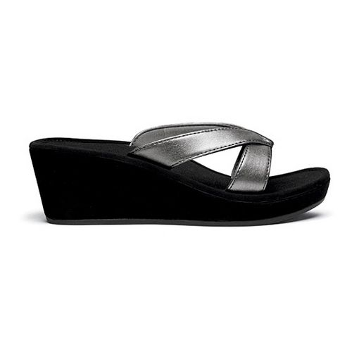 Womens OluKai Ohana Wedge Sandals Shoe - Pewter/Black 7