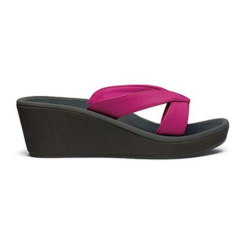 Womens OluKai Ohana Wedge Sandals Shoe - Punch/Dark Shadow 9